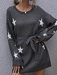 cheap -Women's Dress Sweater Knitted Geometric Stylish Long Sleeve Regular Fit Sweater Cardigans Crew Neck Fall Winter Gray