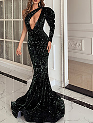 cheap -Mermaid / Trumpet Cut Out Sparkle Party Wear Formal Evening Dress One Shoulder Long Sleeve Sweep / Brush Train Sequined with Sequin 2021
