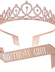 cheap -1 Piece Birthday Crown Shoulder Strap Set Gold Pink Belt BIRTHDAY GIRL QUEEN Belt Etiquette Belt Party Supplies