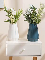 cheap -Plastic Vase Simple Modern Flower Arrangement Diamond Origami Vase Dry And Wet Flower Vase Living Room Imitation Glaze Ornaments