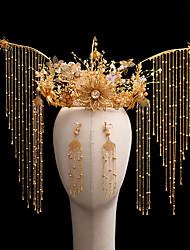 cheap -1 Piece Headdress Chinese Wedding Luxury Retro Golden Tassel Phoenix Crown Ancient Costume Wedding Accessories