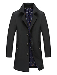 cheap -Men's Jacket Trench Coat Street Daily Going out Fall Spring Long Coat Single Breasted Turndown Regular Fit Warm Breathable Casual Jacket Long Sleeve Plain Pocket Black / Outdoor