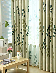 cheap -Window Curtain Window Treatments Green Leaves 1 Panel Room Darkening Grommet Rod Pocket Solid For Living Room Bed Room