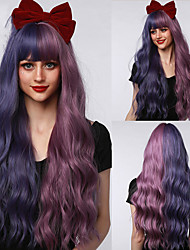 cheap -Synthetic Wig Long Deep Wavy Half Blue Purple Pink Wigs With Bangs For Women Cosplay Party Lolita Heat Resistant