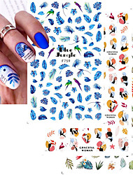 cheap -5 Pcs 3D Nail Stickers Women Face Abstract Leave Design Sliders Paper Nail Art Decoration Gel Polish Manicure Decals