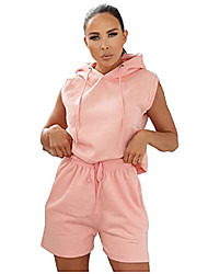 cheap -womens sleeveless hoodie and shorts activewear set girls co ords tracksuit ladies outfit incredibly durable and robust design light weight and breathable vibrant colours (pink extra small)