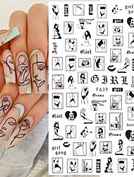 cheap -2 pcs Sexy Lady Shaped 3D Nail Stickers Character Face Image Leaves Flower Decals Slider Black White DIY Nail Art Decorarion