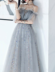 cheap -A-Line Glittering Elegant Party Wear Prom Dress Spaghetti Strap Short Sleeve Floor Length Tulle with Pleats Crystals Sequin 2021
