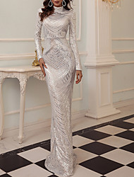 cheap -Sheath / Column Glittering Sparkle Party Wear Formal Evening Dress High Neck Long Sleeve Floor Length Sequined with Sequin 2021