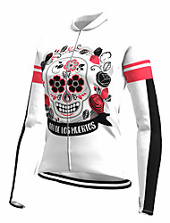 cheap -21Grams Women's Long Sleeve Cycling Jersey Spandex White Skull Floral Botanical Bike Top Mountain Bike MTB Road Bike Cycling Quick Dry Moisture Wicking Sports Clothing Apparel / Stretchy / Athleisure