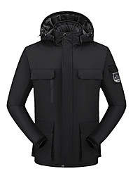 cheap -Men's Jacket Sport Fall Winter Regular Coat Stand Collar Regular Fit Rain Waterproof Sporty Sports Jacket Long Sleeve Color Block Full Zip Dark Grey Blue Army Green