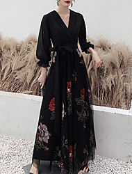 cheap -A-Line Elegant Floral Wedding Guest Formal Evening Dress V Neck Long Sleeve Floor Length Tulle with Sash / Ribbon Pleats Pattern / Print 2021
