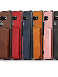 cheap -Phone Case For LG Back Cover Stylo 6 Card Holder Shockproof Dustproof Graphic Solid Colored PU Leather