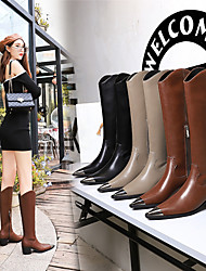 cheap -009-8 european and american style retro british fashion women's boots thick-heeled high-heeled metal pointed iron toe winter high boots