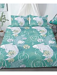 cheap -Print Home Bedding Duvet Cover Sets Soft Microfiber For Kids Teens Adults Bedroom Floral/Flower Fish 1 Duvet Cover + 1/2 Pillowcase Shams