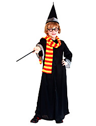 cheap -Harry Potter Gryffin d'or Outfits Masquerade Boys' Girls' Movie Cosplay Halloween Black Coat Scarf Hat Halloween Carnival Masquerade Polyester