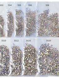 cheap -SS3-SS20 Starry AB Rhinestones For Nails 3d Flatback Glass Strass Non Hotfix Crystal Charm Nail Art Glitter Decorations