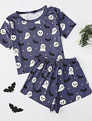 cheap -Women's Pajamas Sets Home Party Halloween Bed Print Pumpkin Skeleton Polyster Funny Soft Sweet T shirt Spring Summer Crew Neck Short Sleeve