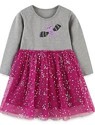 cheap -Kids Little Girls' Dress Galaxy Sequin Animal A Line Dress Daily Mesh Print Gray Knee-length Long Sleeve Princess Cute Dresses Fall Spring Regular Fit 3-10 Years
