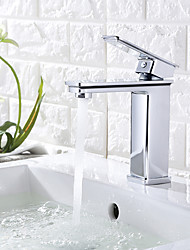 cheap -Commercial Bathroom Sink Faucet Square Modern Basin Mixer Contemporary Water Tap with Single Lever Chrome/Matte Black/ORB Available