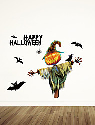 cheap -Halloween Pumpkin Scarecrow Bat Can Remove Personalized Holiday Window Display Background Decoration Stickers