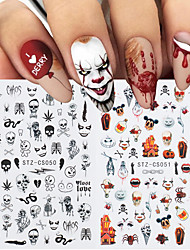 cheap -5 Pcs 3D Halloween Nail Sticker for Nail Art Anime Skull Bone Snake Maple Leaf Decals Manicure Nail Decoration