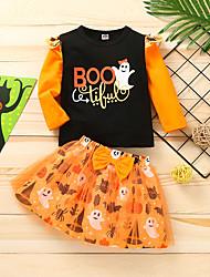 cheap -2 Pieces Baby Girls' Halloween Clothing Set Fashion Cute Halloween Daily Cotton Orange Print Letter Mesh Bow Print Long Sleeve Regular / Fall / Winter