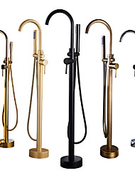 cheap -Bathtub Faucet - Retro Antique Brass Free Standing Ceramic Valve Bath Shower Mixer Taps