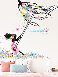 cheap -girl swinging flower branch skirt with fluttering bedroom porch home decoration wall sticker self-adhesive