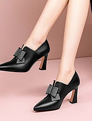 cheap -high-heeled shoes women's autumn 2021 european and american new thick-heeled small leather shoes rhinestone bowknot pointed deep mouth women's single shoes