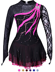 cheap -Figure Skating Dress Women's Girls' Ice Skating Dress Purple Yellow Red Spandex Lace Competition Skating Wear Handmade Solid Colored Fashion Long Sleeve Ice Skating Figure Skating