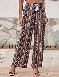 cheap -Women's Fashion Boho Comfort Chinos Casual Weekend Pants Graphic Full Length Wide Leg Drawstring Print Brown
