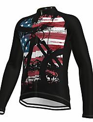 cheap -21Grams Men's Long Sleeve Cycling Jersey Spandex Black American / USA National Flag Bike Top Mountain Bike MTB Road Bike Cycling Quick Dry Moisture Wicking Sports Clothing Apparel / Athleisure