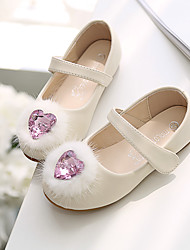 cheap -Girls' Flats Flower Girl Shoes Microfiber Wedding Casual / Daily Dress Shoes Toddler(9m-4ys) Little Kids(4-7ys) Wedding Party Party & Evening Rhinestone Pink Ivory Fall Spring