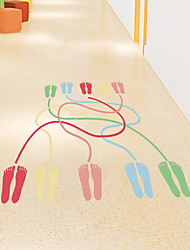 cheap -preschool children's games with the same color feet connected to the kindergarten wall beautification decorative wall stickers self-adhesive