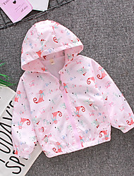 cheap -Kids Toddler Girls' Jacket Coat Long Sleeve Animal Zipper Pocket White Pale Pink Children Tops Fall Spring Fashion Cute Daily Standard Fit 2-8 Years