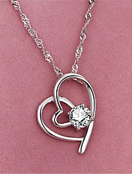 cheap -Pendant Necklace Necklace Women's Classic Cubic Zirconia Silver Plated Simple Fashion Classic Casual / Sporty Sweet Cute White 45 cm Necklace Jewelry 1pc for Street Gift Daily Prom Festival Geometric