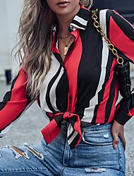 cheap -Women's Blouse Shirt Striped Long Sleeve Shirt Collar Tops Red