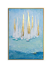 cheap -Oil Painting Handmade Hand Painted Wall Art Modern Gold Foil Sailboat Seascape Abstract Picture Home Decoration Decor Rolled Canvas No Frame Unstretched
