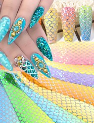 cheap -10pcs Laser Fish Scales Nail Foil Holographic Gradient Mermaid Transfer Sticker Wave Decal Starry Paper Nail Decoration