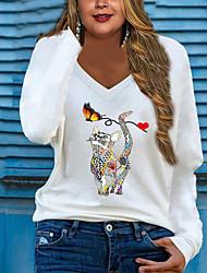 cheap -Women's Plus Size Tops Blouse Shirt Cat Animal Print Long Sleeve V Neck Streetwear Fall Red Green White Big Size L XL XXL 3XL 4XL