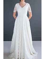 cheap -A-Line Wedding Dresses V Neck Court Train Chiffon Lace Half Sleeve Romantic Luxurious with Pleats Appliques 2021
