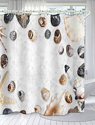 cheap -Beach Shell Plant Series Digital Printing Shower Curtain Shower Curtains  Hooks Modern Polyester New Design