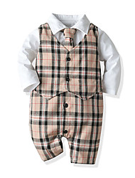 cheap -Baby Boys' Jumpsuits & Rompers Basic Party Street Birthday Cotton Khaki Decor Plaid Thick Long Sleeve / Fall / Winter