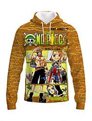cheap -Inspired by One Piece Monkey D. Luffy Portgas D. Ace Anime Cartoon Polyster Anime 3D Harajuku Graphic Hoodie For Unisex / Couple's