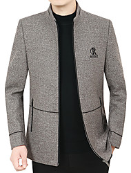 cheap -Men's Coat Street Daily Fall Winter Long Coat Zipper Stand Collar Regular Fit Thermal Warm Breathable Casual Jacket Long Sleeve Solid Color Pocket Dark Grey Light Grey Coffee