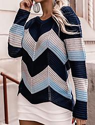 cheap -Women's Sweater Knitted Striped Stylish Long Sleeve Sweater Cardigans Crew Neck Fall Winter Blue Khaki Black