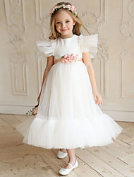 cheap -Princess Ankle Length Flower Girl Dresses Party Polyester Short Sleeve Jewel Neck with Ruffles