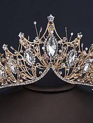 cheap -Rhinestone Alloy Big Crown Handmade Accessories Atmospheric Wedding Styling Hair Accessories Golden Dress Crown
