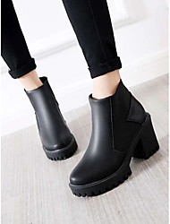 cheap -Women's Boots Chunky Heel Round Toe Booties Ankle Boots Daily PU Color Block Red Blue White